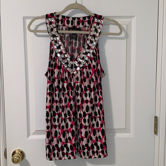 INC International Concepts Tops - INC Patterned Tank top with Large Gems